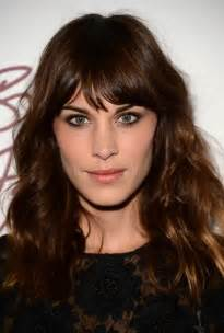 wave hair with bangs alexa chung latest hairstyles dark brown wavy hairstyle