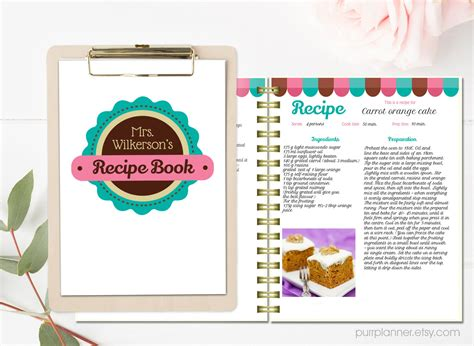 personalized recipe book template editable recipe pages