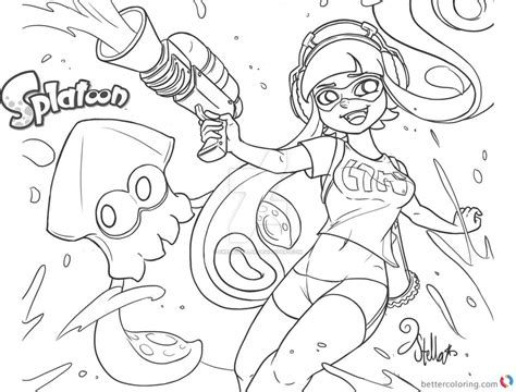 Splatoon 2 Coloring Pages by Splatoon Coloring Pages Inkling Fan Drawing By
