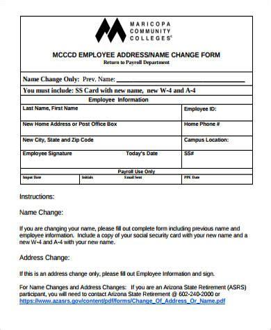 employee address change form template 8 sle address change forms sle templates