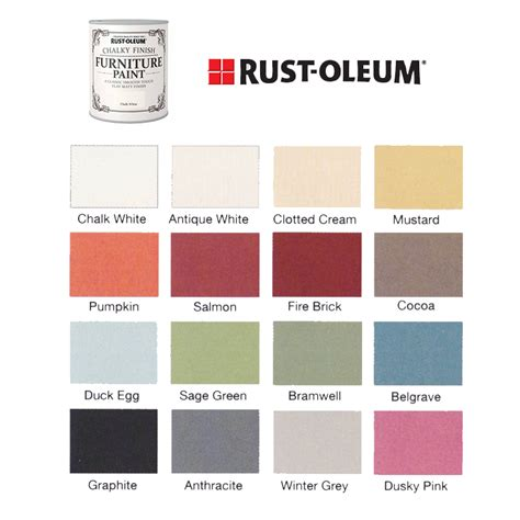 rust oleum chalk paint colors chart rust oleum colour chart 2 chalk shop ayucar