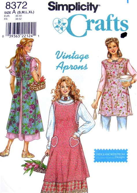 sewing pattern vintage apron vintage style full apron sewing pattern simplicity 8372 uncut