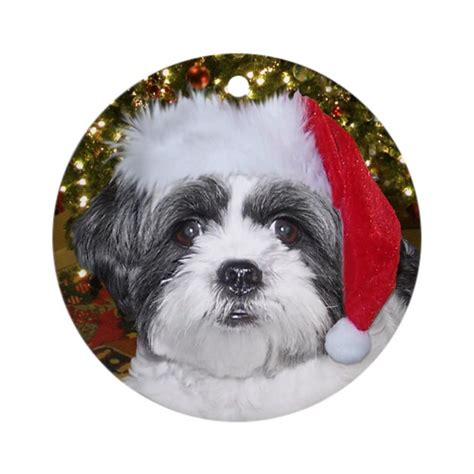 christmas shih tzu ornament round by ironydesigns