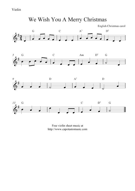 printable christmas violin sheet music free we wish you a merry christmas free christmas violin sheet