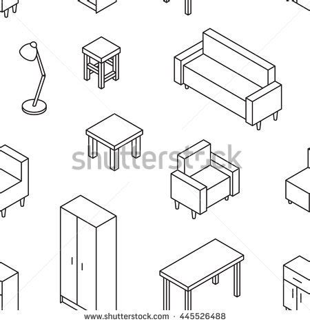 sofa isometric view living furniture seamless pattern 3d line stock vector