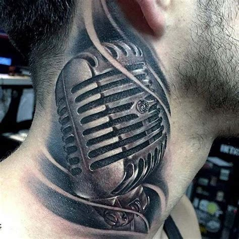 unique microphone tattoo designs