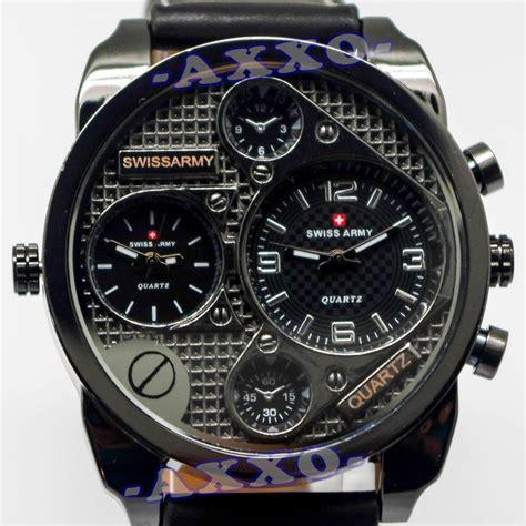 Jam Tangan Dari Swiss swiss army dual time jam tangan pria hitam kulit sa 9100 1 l lazada indonesia