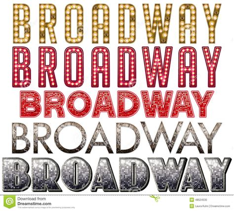 broadway marquee word art stock photo image of