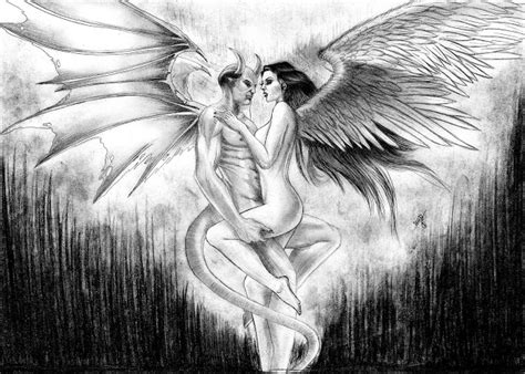imagenes de angeles y demonios para dibujar a lapiz misteri0zzo angel y demonio arte dibujando