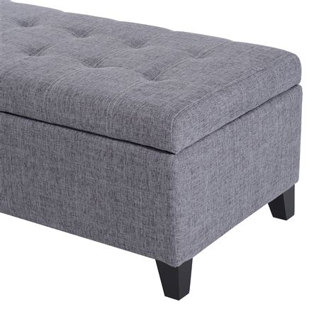 Fabric Tufted Ottoman 51 Quot Fabric Storage Ottoman Bench With Tufted Top Footrest Stool Home Furniture Ebay