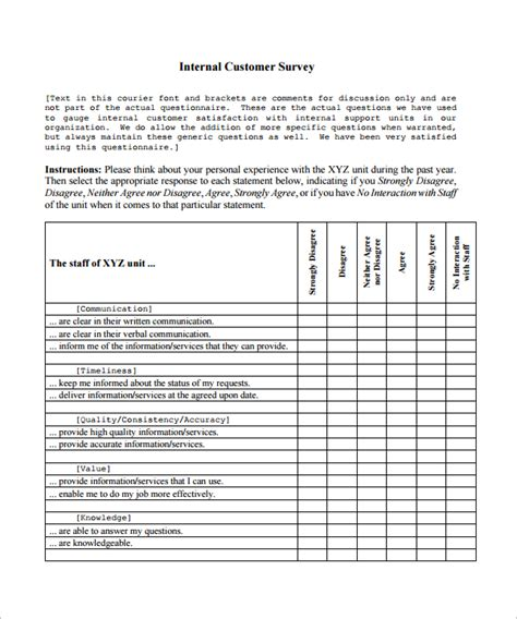 customer satisfaction survey template 8 download free