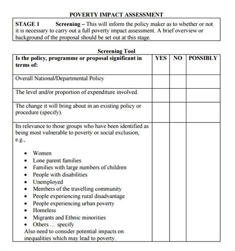 assessment form template 9 sle impact assessment templates sle templates