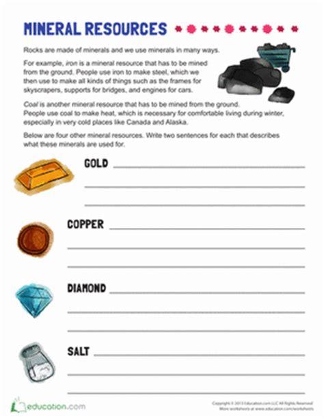 Minerals Worksheet