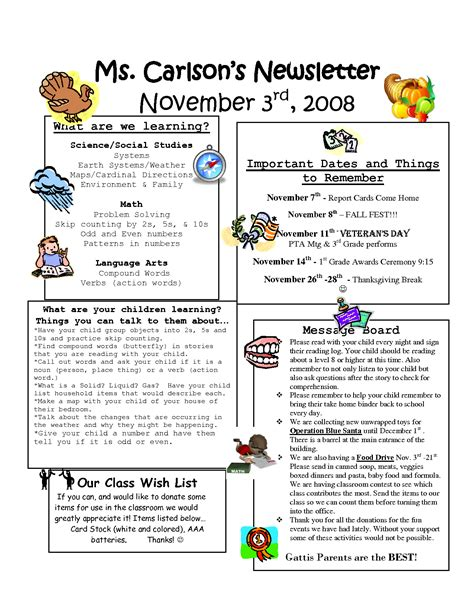 5th grade newsletter template best photos of newsletter exles of grade 1 classroom