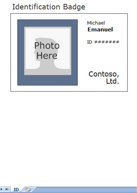 photo identification card template employee id card