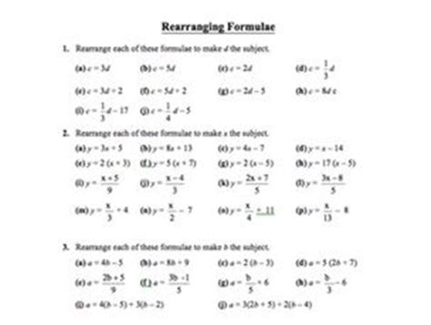 Rearranging Equations Worksheet Answers by Changing The Subject By Brabanski Teaching Resources Tes