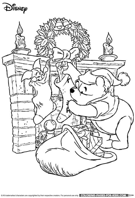 disney christmas coloring page for kids winnie the pooh