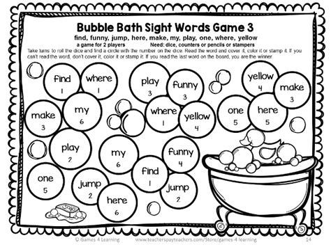 printable word games for grade 3 dolch sight words games pre primer list pre primer sight