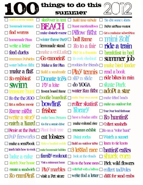8 Things To Do This Summer by 100 Things To Do This Summer Pdf Summer And Pdf