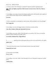 POLS 2312 - EXAM 8 PUBLIC POLICY - LITTLE.docx - Course