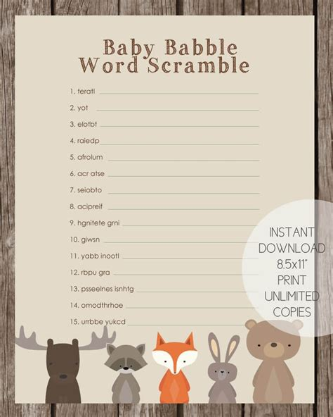 Baby Babble Shower by Woodland Animals Baby Babble Word Scramble Baby