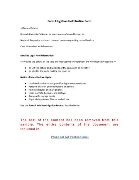 Court Records Notice Formal Record Hold Notice Form Use The Formal Record