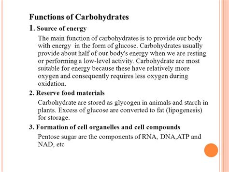 carbohydrates 4 functions carbohydrate ppt