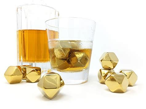Whiskey Stones Gold Edition Gift Set of 8 Stainless Steel