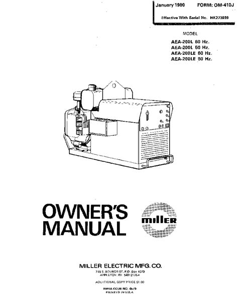 Aea Mba Reader Manual by Miller Aea 200l Le Om 410j Service Manual
