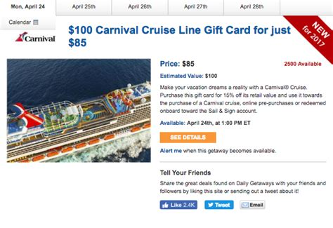 Carnival Cruise Gift Cards Discount - daily getaways 15 off carnival cruise gift cards deals we like