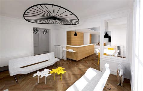 Intérieur Appartement Haussmannien by Cuisine Moderne Ouverte Sur Salon