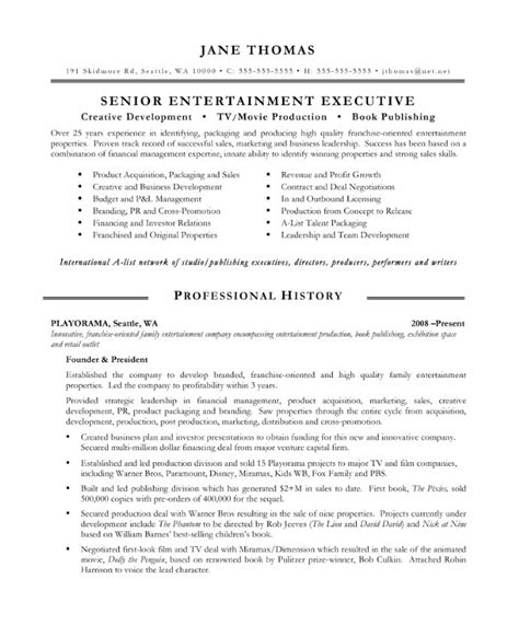 entertainment executive free resume sles blue sky