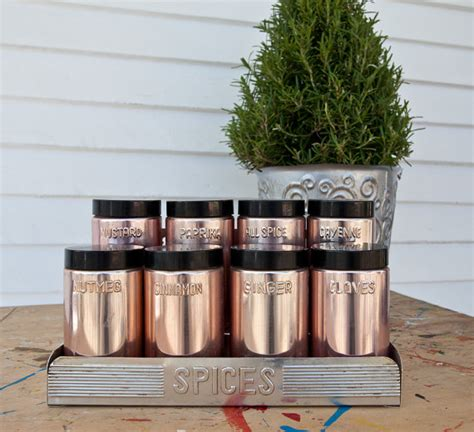 Spice Rack Containers Copper Spice Containers And Coordinating Spice Rack By