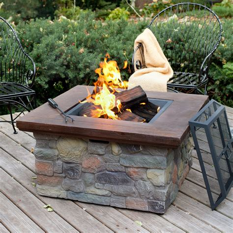 Red Ember Sheridan 35 In Square Wood Burning Fire Pit Firepit Wood