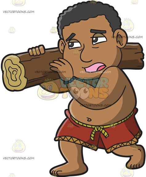 A Male Polynesian Slave Carrying A Log Cartoon Clipart   Vector Toons