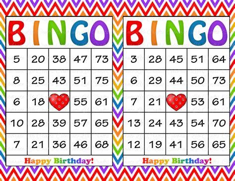 printable birthday bingo cards 60 rainbow birthday printable bingo cards instant download