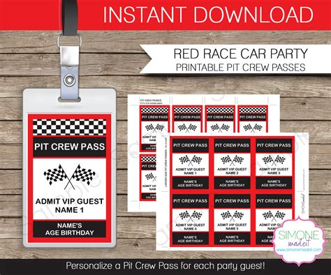 race card template race car pit crew pass printable insert instant