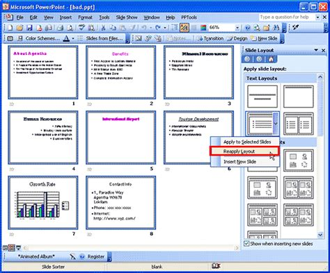 layout powerpoint 2003 reapply slide layouts in powerpoint 2003 powerpoint