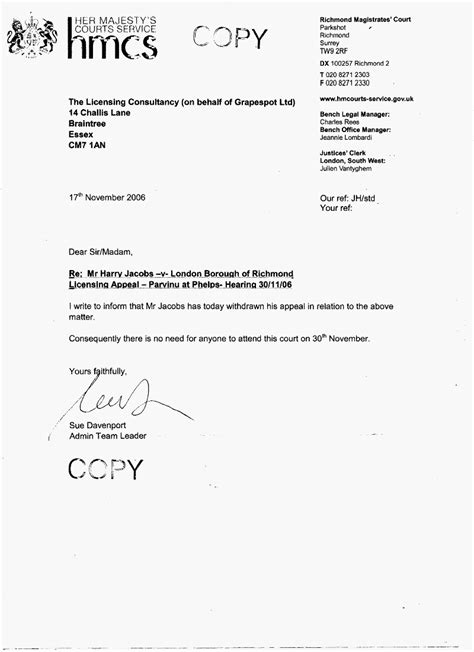 Withdrawal Appeal Letter grapespot letter on licensing hearing withdrawal
