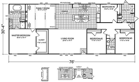 4 bedroom double wide mobile home floor plans 4 bedroom manufactured homes home design