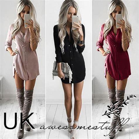 Sleeve Plain Dress Shirt uk womens plain shirt dress sleeve boyfriend