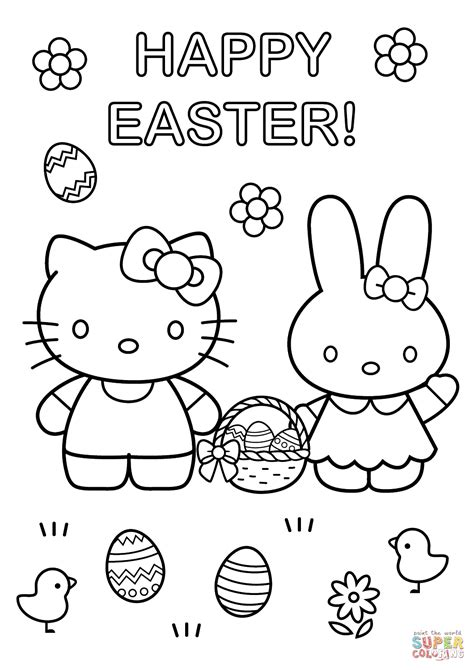 hello kitty easter coloring pages to print hello kitty with easter bunny coloring page free