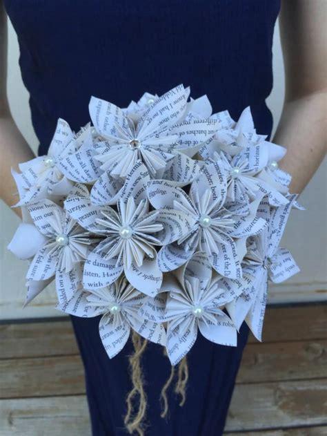 Handmade Paper Flower Bouquet - book page paper flower bouquet book themed wedding