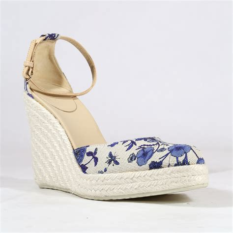 gucci womens shoes designer white and blue wedges 171562