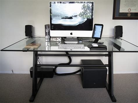 Glass Home Office Desks Modern Glass Top Computer Desk Design With White Keyboard And Speakers Set Also Beautiful Handle