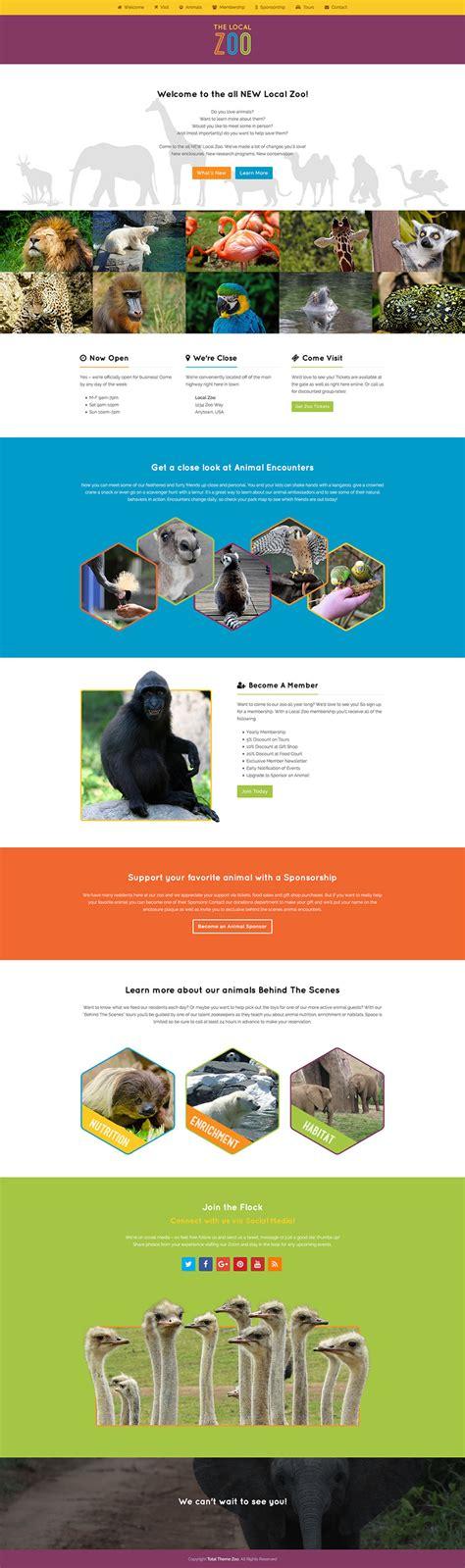 themeforest zoo zoo a colorful single page wordpress theme demo wpexplorer