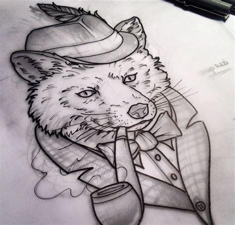 black and white mr fox a pipe design black and white mr fox a pipe design