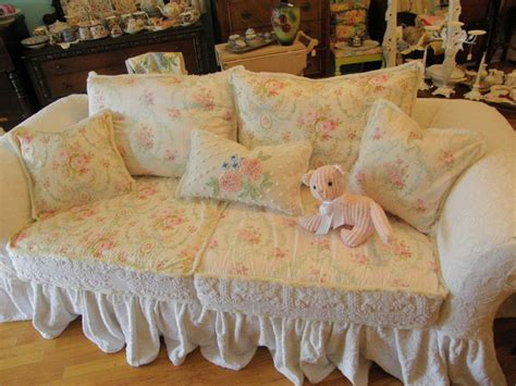 Shabby Chic Ruffle Slipcovered Sofa Chenille Bedspread Shabby Chic Sofa Slipcovers