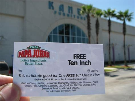 Groupon Papa John S Gift Card - kane s furniture free papa john s gift card fl only coupon pro