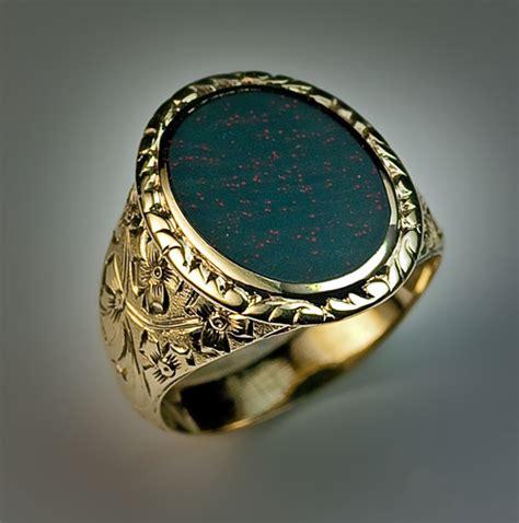 era antique bloodstone gold signet ring